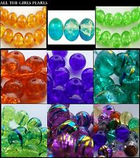 *CLEARANCE*Glass Crackle Drawbench Beads. 4mm, 6mm, 8mm. 20 Colours *CLEARANCE*
