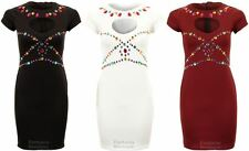 Ladies Cap Sleeve Cut out Heart Front Jewels Stretch Bodycon Women's Short Dress