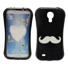 BLACK CASE WITH WHITE MUSTACHE PRINT GEL HARDCASE FOR SAMSUNG GALAXY S4 i9500