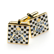 Superb Quality Pavement Design Masonic Cufflinks, Check Black & White Craft Gift