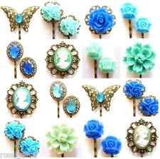 Blue Hair Pins Grips Clips Vintage Accessories Bobby Flower Rhinestone Butterfly