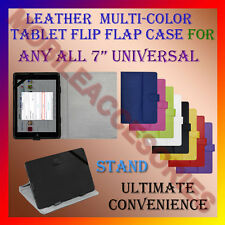 """ACM-LEATHER FLIP FLAP MULTI-COLOR COVER & STAND 7"""" TABLET TAB CARRY CASE POUCH"""
