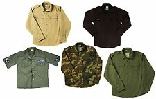 Vintage Fatigue Shirt Soft Cotton Retro Button Front Camo Military Shirts XS-3XL