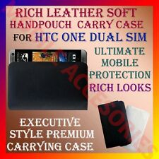 ACM-RICH LEATHER SOFT CARRY CASE HTC ONE DUAL SIM MOBILE HANDPOUCH COVER PROTECT