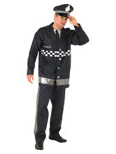 Adult Policeman Fancy Dress Service Costume Mens Gents Male BN