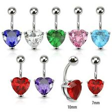 New Surgical Steel Gem Love Heart Belly Naval Bar 1.6mm Choice of Gem Colour