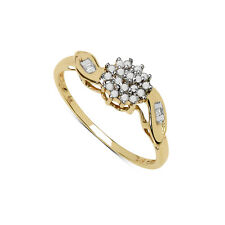 GOLD PLATED STERLING SILVER 0.14CT DIAMOND CLUSTER ENGAGEMENT RING SIZE IJLMPQRT
