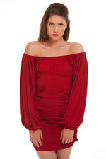 Red Off the Shoulder Club Ruched Mini Dress