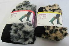 RJM Ladies Welly Sock - SK236 - Faux Fur Leopard Top Black Fleece Socks