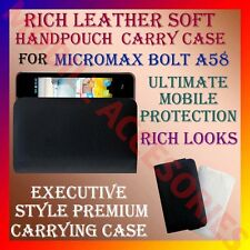 ACM-RICH LEATHER SOFT CARRY CASE of MICROMAX BOLT A58 MOBILE HANDPOUCH COVER NEW