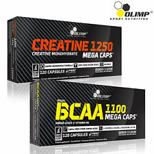Creatine Monohydrate +  BCAA 60-180 Caps. Amino Acids Muscle Growth Development
