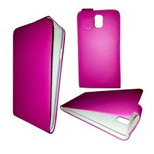 PLAIN HOT PINK FLIP CASE COVER FOR SAMSUNG GALAXY NOTE 3 GT-N9000
