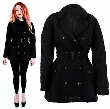 Ladies Diamond Quilted Double Breasted Padded Belted Jacket Women's Coat 8-14