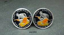 1962 or 1964  New Zealand coin cufflinks Queen Elizabeth II shilling