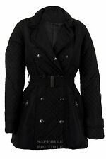 Women's Quilted Diamond Double Breasted Padded Belted Jacket Ladies Coat 8-14