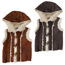 Womens Girls Brave Soul Mamba Faux Fur Lining Leather Look Hooded Gilet