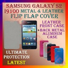 ACM-SAMSUNG GALAXY S2 I9100 PREMIUM LEATHER & METAL ALUMINUM FLIP COVER CASE