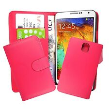 PLAIN HOT PINK BOOK FLIP CASE COVER FOR SAMSUNG GALAXY NOTE 3 GT-N9000