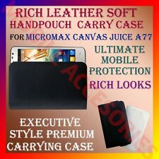ACM-RICH LEATHER SOFT CARRY CASE of MICROMAX CANVAS JUICE A77 MOBILE COVER NEW
