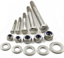 M10 A2 STAINLESS PART THREADED BOLT SCREW + NYLOC NUT & WASHERS HEXAGON HEX HEAD
