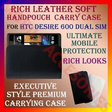 ACM-RICH LEATHER SOFT CARRY CASE for HTC DESIRE 600 DUAL SIM HANDPOUCH COVER NEW