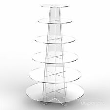 6 Tier Cup Cake Stand Wedding Birthday Party Acrylic Cupcake Display - Round
