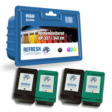 4 PACK REMANUFACTURED HP 337 & HP 343 HIGH CAPACITY INK CARTRIDGES - 2 FULL SET