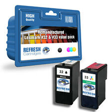 2 X REMANUFACTURED LEXMARK PRINTER INK CARTRIDGES BLACK 32 COLOUR 33  1 FULL SET
