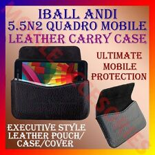 ACM-HORIZONTAL LEATHER CARRY CASE for IBALL ANDI 5.5N2 QUADRO MOBILE POUCH COVER