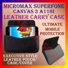 ACM-HORIZONTAL LEATHER CARRY CASE for MICROMAX SUPERFONE CANVAS 3 A116i COVER