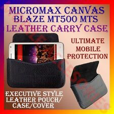ACM-HORIZONTAL LEATHER CARRY CASE for MICROMAX CANVAS BLAZE MT500 MTS COVER CASE