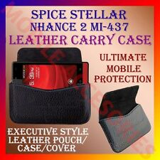 ACM-HORIZONTAL LEATHER CARRY CASE for SPICE STELLAR NHANCE 2 MI-437 POUCH COVER