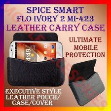 ACM-HORIZONTAL LEATHER CARRY CASE for SPICE SMART FLO IVORY 2 MI-423 COVER POUCH