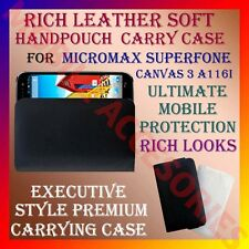 ACM-RICH LEATHER SOFT CARRY CASE for MICROMAX CANVAS 3 A116i MOBILE HANDPOUCH
