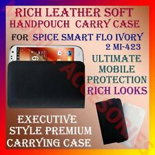 ACM-RICH LEATHER CARRY CASE for SPICE SMART FLO IVORY 2 MI-423 HANDPOUCH COVER
