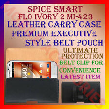 ACM-BELT CASE for SPICE SMART FLO IVORY 2 MI-423 LEATHER CARRY POUCH COVER CLIP