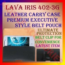 ACM-BELT CASE for LAVA IRIS 3G 402+ MOBILE LEATHER CARRY POUCH COVER CLIP HOLDER