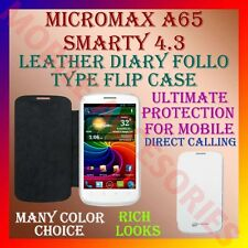 ACM-LEATHER DIARY FOLIO FLIP FLAP CASE for MICROMAX A65 SMARTY 4.3 MOBILE COVER