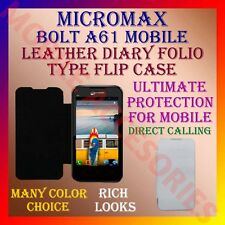 ACM-LEATHER DIARY FOLIO FLIP CASE for MICROMAX BOLT A61 MOBILE FRONT/BACK COVER
