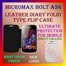 ACM-LEATHER DIARY FOLIO FLIP CASE for MICROMAX BOLT A34 MOBILE FRONT/BACK COVER