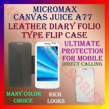 ACM-LEATHER DIARY FOLIO FLIP CASE for MICROMAX CANVAS JUICE A77 MOBILE COVER