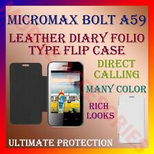 ACM-LEATHER DIARY FOLIO FLIP CASE for MICROMAX BOLT A59 MOBILE FRONT/BACK COVER