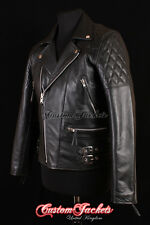 Men's HIGHWAY Black MOTORCYCLE Motorbike CRUISER Real Cowhide Leather Jacket