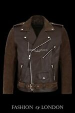 Men's BRANDO' Brown SUEDE & COWHIDE Motorcycle Motorbike Biker Leather Jacket