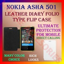 ACM-LEATHER DIARY FOLIO FLIP CASE COVER for NOKIA ASHA 501 MOBILE FRONT & BACK