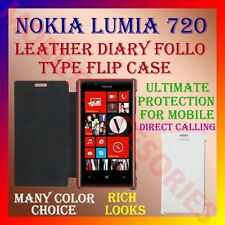 ACM-LEATHER DIARY FOLIO FLIP CASE COVER for NOKIA LUMIA 720 MOBILE FRONT & BACK