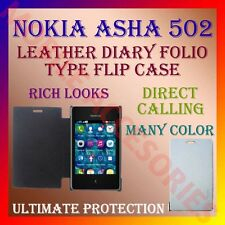 ACM-LEATHER DIARY FOLIO FLIP CASE COVER for NOKIA ASHA 502 MOBILE FRONT & BACK