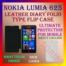 ACM-LEATHER DIARY FOLIO FLIP CASE COVER for NOKIA LUMIA 625 MOBILE FRONT & BACK
