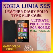 ACM-LEATHER DIARY FOLIO FLIP CASE COVER for NOKIA LUMIA 525 MOBILE FRONT & BACK