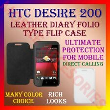 ACM-LEATHER DIARY FOLIO FLIP COVER for HTC DESIRE 200 MOBILE FRONT & BACK FLAP